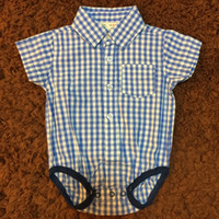 Wholesale Gentleman Style Boy Clothes - Baby Boy Clothes Gentleman Style Romper Turn-down Collar Blue Plaid Cotton Short Sleeve Summer Newborn Clothes