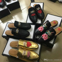 Wholesale Women Flat Bling Shoes - 2017 Luxury GG Brand Princetown Leather Slippers Women Bling Flat Mules Casual Shoes Loafers Fashion Outdoor Slippers Ladies Summer Shoes