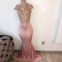 Wholesale Evening Bling Top - Vintage High Neck Bling Blush Pink Mermaid Prom Dresses 2017 See Through Top Satin Prom Gowns African Evening Dress