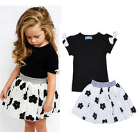 Wholesale Wholesale Childrens Outfits Sets - Fashion Girls Childrens Clothing Sets Bow Short Sleeve tshirts Rain Skirts 2Pcs Set Summer Cotton Girl Kids Enfant Clothes Outfits