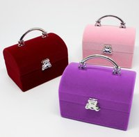 Wholesale Necklace Box Jewel - Velvet Necklace Rings Earrings organizer jewel case new style jewelry gift box for christmas free shipping