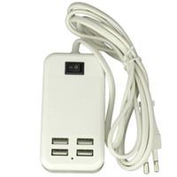Wholesale Ac Power Line - High quality 15W USB desktop charger 5V 3A USB ports desktop wall charger 1.5m line 4 USB ports AC Power Adapter with EU US UK plug