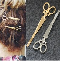 joyería perno cabezas al por mayor-Cool Simple Head Jewelry Hair Pin Tijeras de oro Shears Clip para Hair Tiara Barrettes accesorios al por mayor
