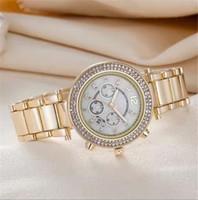 Wholesale Ladies Movement Watches - New style golden super fashion ladies Gold dress noble sale designer wrist watch diamond around Rhinestones automatic date quartz movement