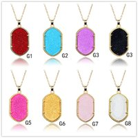 Wholesale Long Necklace Bling - Popular hexagon oval Druzy Drusy Necklace Bling Resin Silver Gold Plated Geometry Long Sweater chain Necklaces Various Colors Jewelry