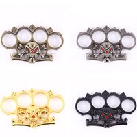 Wholesale Security Belts - Protective Gear Self Defense Knuckle Dusters Skulls Zinc Alloy Knuckle Duster Women Men's Security Pendant Hand Belt Buckle Jewelry 13cm