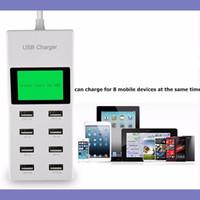 universal-ladegerät lcd großhandel-High-Speed-LED 8-Port Home-Ladegerät-Adapter mit LCD-Bildschirm AC auf USB Power Socket Station für Tablet PC Handy