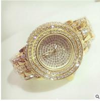Wholesale Ladies Crystal Stainless Steel Bangles - New Fashion Full Diamond Quartz Watch BS Brand Gold Dress Watch Women Luxury Austrian Crystals Watch Lady Charm Bangle Bracelet