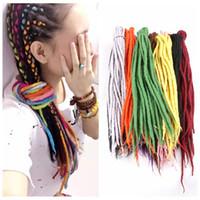 extensions de cheveux populaires achat en gros de-Synthétique Crochet Tresses Twist Cheveux Népal Feutrée Laine Dreadlocks Synthétique Tressage Extensions de Cheveux 90cm-120cm 24colors Populaire