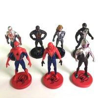 modelos de batman al por mayor-Spiderman figuras de acción dibujos animados 7 piezas PVC coleccionables modelo cómics héroes araña hombre para niños regalo juguetes 9cm