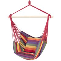 Hammock Hanging Rope Chair Porch Swing Seat Pátio Camping Portable Red Stripe