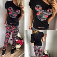 Wholesale Camouflage Cotton Pants Women - 2017 hot sell, Mickey Mouse camouflage printed Sport Suit Camouflage Hoodie Sweatshirt + Pants Jogging 2 Piece Set Femme Tracksuits Moletom