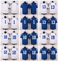 Wholesale Blank Black Football Jersey - Mens Elite Style Stitched Co1ts Blank #1 McAFEE #10 MONCRIEF #12 LUCK #13 HILTON #19 UNITAS White Blue football jerseys