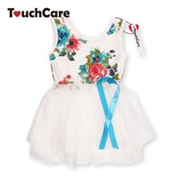 Wholesale Solid Light Blue Ball Gown - Girl Dress Summer New Floral Baby Girl Dress Princess TuTu Dress 8 Colors Infant Dresses Kids Clothing With Bow