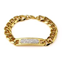 Wholesale beaded brass bracelet online - New Arrival Fashion Gold Bracelet With Bling Rhinestone Crystal For Men Women Gifts Hip Hop Jewelry