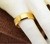 Wholesale Stainless Steel Ring Plain - 2017 wedding ring lover Stainless Steel 24K Yellow Gold Plated 9mm Plain Men's and Women's Wedding men Band Ring Engagement men ring
