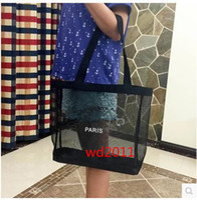 Wholesale Transparent Shopping Bags - 2017 hot Fashion white logo women Transparent Mesh Chain Shoulder Bags casual tote Designer Brand Luxury Shopping Handbags