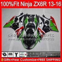 Wholesale kawasaki ninja zx6r black online - 8Gifts Injection For KAWASAKI NINJA ZX636 ZX6R CC green black NO23 ZX ZX R ZX ZX R Fairing