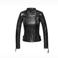 Wholesale Leather Jackets Trendy Women - 2017 100% Sheep Skin Jacket Oblique Zipper Plus Size Parka Fashion Trendy Slim Leather Jacket Women Coat Casaco Feminino GQ1296