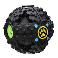 Wholesale Plastic Dog Bone Toy - Fantastic Black Bone Pattern Pet Dog Feeding Ball Sound Toy Dog Treat Dispensing Toy Interactive IQ Treat Training A249