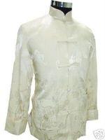Wholesale Men S Formal Coats - Wholesale- Autumn New Beige Men Silk Satin Jacket Chinese Style Kung Fu Coat Vintage Totem Outwear Size S M L XL XXL XXXL MJ070