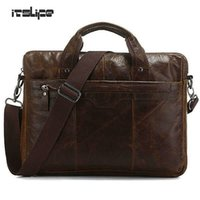 Wholesale Tiny Laptops - Itslife 7075Q Classic Vintage Genuine Leather Men's Chocolate Hand Tiny Laptop Bag Briefcase Messenger Bag Cowhide Handbag