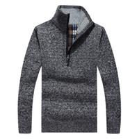 Wholesale Men S Formal Coats - Wholesale- Thick Warm Winter Sweaters Coat Men's Zipper Pullover Cashmere wool Sweaters Man Casual Knitwear Fleece Velvet Clothing 50wy