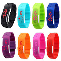 Wholesale Led Xmas Bracelets - 8 Pack Wholesale Women Men Kids Red LED Display Sports Bracelet Wrist Watches Jelly Gel Silicone Band Wristwatches Xmas Gifts Set