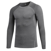 Wholesale mens compression wear - Mens Sports Compression Wear Long Sleeve T Shirt Running Training Fitness Clothing Elastic Compression Fast-drying Fitness Clothes S-XXL