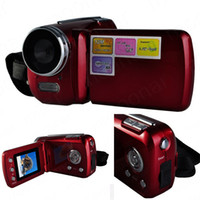 Wholesale Digital Battery Grip - Wholesale- Top Quality Mini DV 1.8 inch D1 Pcs Camera 4 x Digital Zoom 12 Mega pixel TFT LCD Camcorder with Hand Grip Black Red LS*DA0471*