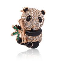 Wholesale Panda Pins - Wholesale- Cute Panda Brooch Crystal Rhinestone Animal Pin Fashion Accessory Scarf Clip