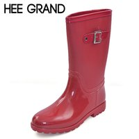 Venta al por mayor-HEE GRAND Candy Color Botas de lluvia Nuevo Slip On Women Mid-Calf Rainboots Casual Plata Toe Red Plata zapatos de caucho Mujer XWX3071