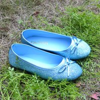 Wholesale Princess Sofia Shoes - Wholesale- 2017 Fashion Shiny Blue Princess Elsa Shoes Slip on Sparkling Cinderella's Flats Shoes Bow Tie Cos-play Sofia Girl Glitter Shoes
