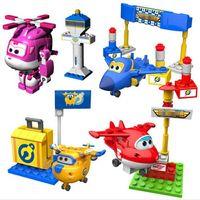 ingrosso ali d'aereo-Super Wings Mini Airplane ABS Robot giocattoli Action Figures Super Wing Transformation Jet Animazione Bambini Bambini regalo Brinquedos