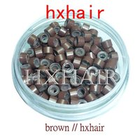 Venda Por Atacado-Freeshipping - 10000pcs 5.0mm Com Silicone Micro Alumínio Anéis / Links Beads / Preto D-Brown Brown L-Brown D-Blonde Blonde