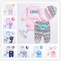 Wholesale Cute Outfits For Boys - 10colors Newborns Spring cartoon Romper 4pc set cute Hat embroidery Romper Pants Socks Baby clothes girls boys best gifts Outfits for 3-12M