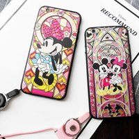 painting mouse - For Iphone Phone Shell Cartoon Pattern Mickey Mouse Plating Embossed Painting Lanyard Hole Phone Case For Iphone s Plus