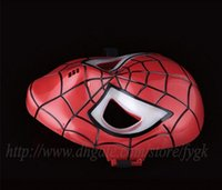 Wholesale Make Spiderman Mask - 2017 Promotion Sale Darth Vader Helmet 10pcs Lots Halloween Mask cosplay Glowing Spiderman  Spider-man Mask Eyes Make Up Toy for Kids Boys