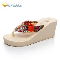 Wholesale Beach Wedge Sandals Flip Flops - 2017 Summer Wedges Flip Flops Women Slippers Summer Fashion Riband Beach Thick Heel Women Platform Sandals Size 35-38