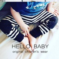 Wholesale Loose Cool Trousers - New Girls Boys Baby Pants Cool Pant Fashion Striped Pure Cotton Patch Casual Soft Pants Children Clothing Trousers Babies Boy Pant A6657