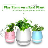 Wholesale Hot mini smart flowerpot sensor Bluetooth speaker Flower pot Plastic Green plant pots decorative Macetas pot Playing Smart Music