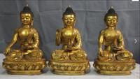 Wholesale Buddha Feng - China Tibetan Buddhist Bronze Copper Gild three Tathagata Sakyamuni Buddha statue set