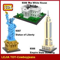 Wholesale Empire Toys - LOZ Diamond Blocks World Famous Architecture White House Statue of Liberty Empire State Building Model Building Blocks 9386-9388 Toy Gift
