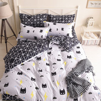 Wholesale Cartoon Bedding Queen - Quality Batman Mask Bedding Set Cartoon Black White Duvet Cover Bed Set Beddings Single Full Queen King Size Bedclothes Bedspread Promotion