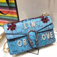 Wholesale Shoulders Handbags Blue Colour - new arrival fashion women most quality real snakeskin blue colour original shoulder bag with pearl and bee, female popular handbag