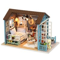 Wholesale Happy Houses - Dollhouse with Dust-proof Cover Forest Times Happy Times Holiday Times Mini DIY Wooden House Kit with LED Light Handmade Doll House Toys