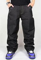хип-хоп мешковатые штаны мальчики оптовых-Оптовая Торговля-Джинсы Мужчины Мешковатые Черный Повседневная Рэп Джинсы Свободные Брюки Хип-Хоп Свободный Стиль Хип-Хоп Джинсы Для Мальчика Большой