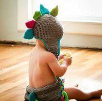 Wholesale Dino Hats - Crochet Dinosaur Knitted Cap Newborn Infant Toddler Baby Boys Girls Hallowmas Christmas Hat Children Dino Beanie 100% Cotton Photo Props