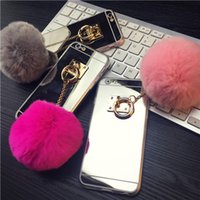 Wholesale Iphone Case Rabbit Mirror - Luxury Metal Rope Mirror Tassel phone Case fake rabbit fur ball For iPhone 7 7Plus 6 6S 6plus 5 5S Back Cover Case