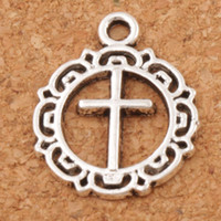 Open Flower Circle Cross Spacer Charm Beads 150pcs / lot 16.3x19.8mm Pendentifs en argent antique Alliage Bijoux faits à la main DIY L495
